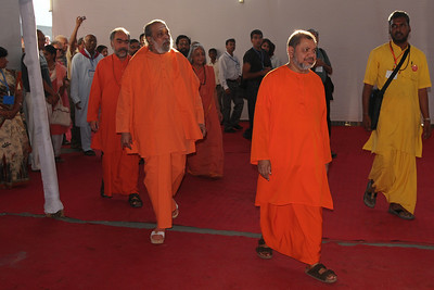 Guruji Swami Tejomayanandaji and other Swamijis entering the Yagna Shala at Chinmaya Mission's International Camp, Dec 26th to Jan 1st, 2009 held at Chinmaya Vibhooti, Kolwan, Maharashtra, India.