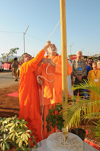 Guruji Swami Tejomayanandaji and other Swamiji Purushottamanandaji at the Yagna Shala at Chinmaya Mission's International Camp, Dec 26th to Jan 1st, 2009 held at Chinmaya Vibhooti, Kolwan, Maharashtra, India.