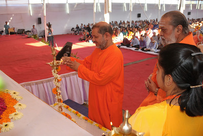 Lighting of lamp at Chinmaya Mission's International Camp, Dec 26th to Jan 1st, 2009 held at Chinmaya Vibhooti, Kolwan, Maharashtra, India.