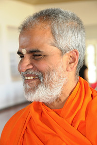 "Lighter moments - Swami Brahamanandaji at the inauguration ""Chinmaya Jeevan Darshan"" (CJD) during the Chinmaya Mission's International Camp, Dec 26th to Jan 1st, 2009 held at Chinmaya Vibhooti, Kolwan, Maharashtra, India."