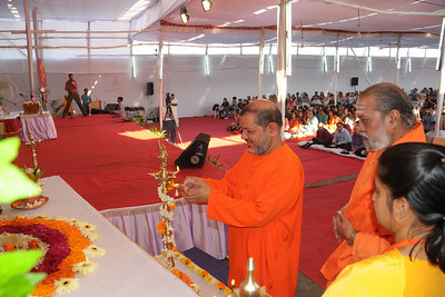 Guruji Swami Tejomayanandaji lighting the lamp at Chinmaya Mission's International Camp, Dec 26th to Jan 1st, 2009 held at Chinmaya Vibhooti, Kolwan, Maharashtra, India.