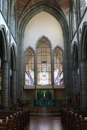 Looking from the west end to the Nave Altar and on to the East End Window