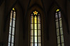 Trio of Stained Glass Windows in Church in Rothenburg, Germany
