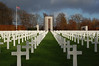 Crosses and Monument in American Cemetery in Luxembourg