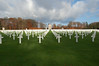 A Sea of Crosses and Monument in Luxembourg American Cemetery