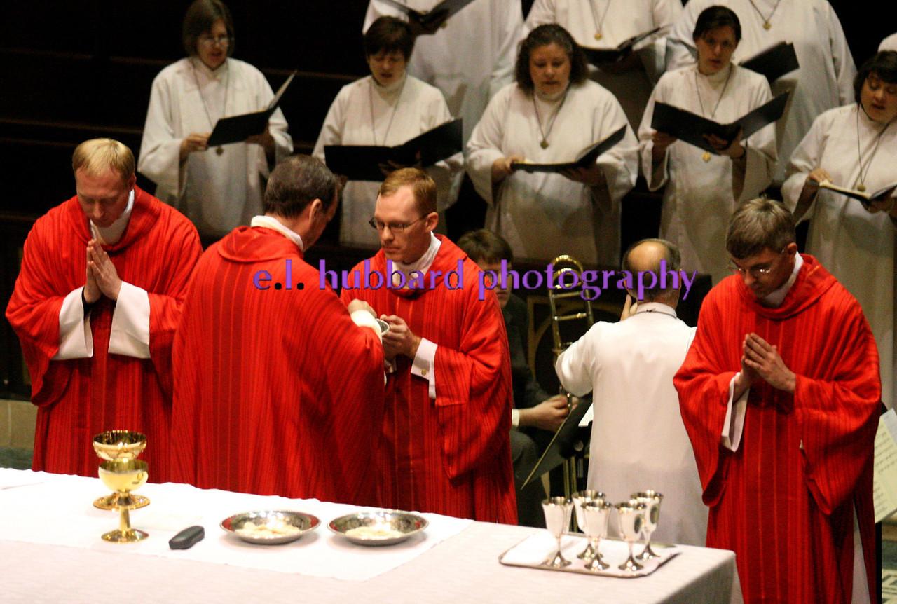 Left to right, Robert Kenneth Muhlenkamp, Holy Trinity Church, Coldwater, Archbishop Schnurr, Timothy Wayne Ralston, Saint Michael Church, Mount Orab, and Matthew Robert Rader, Saint Charles Borromeo, Lima.