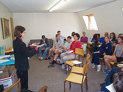 Alberta Blake teaching Sign language at a Deaf Ministry/Sign Language workshop at Foothills Camp near Bowden, AB, Canada