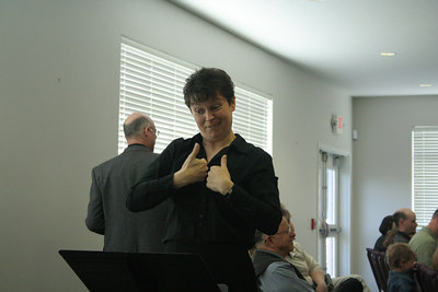 Signed interpreting for the deaf group at the Vancouver, WA, SDA Church - during a combined service.