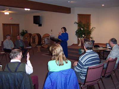 Nancy teaching a Sabbath School class at a Deaf Fellowship day in Surrey, British Columbia, Canada.  Nancy is from just across the border in Emerson, WA, USA.