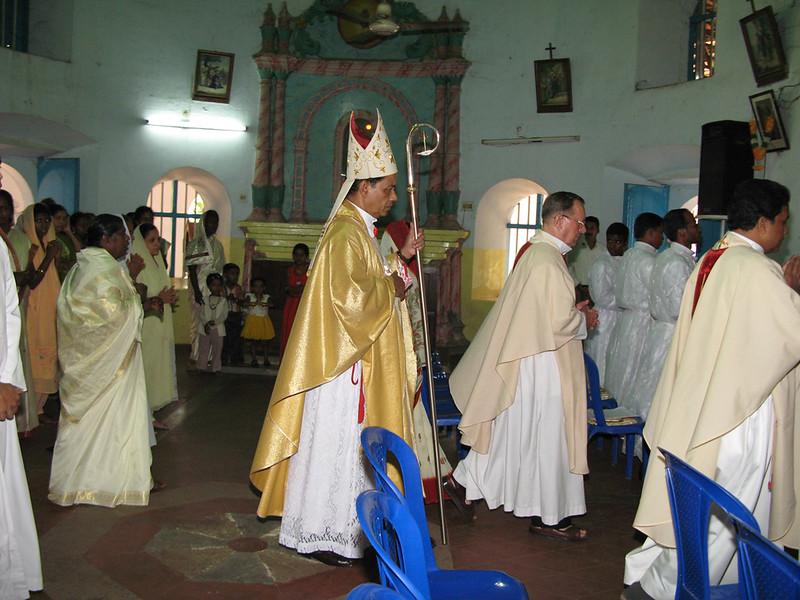 Bishop Thattumkal enters the church.