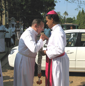 Fr. Martin (India District Superior) welcomes Bishop John Thattumbal, of the Cochin Diocese.