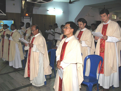 The concelebrants. (from front right to left) Fr. Szymon (Poland, Frs. Guntoro and Kus (Indonesia)