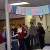 prayer flags decorating the vestry