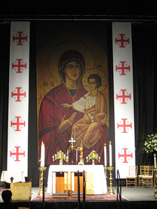This is the temporary altar and backdrop that were set up for our masses and ceremonies last weekend.  The crosses bordering the icon of the Virgin and Child are Jerusalem crosses, symbol of the Order.
