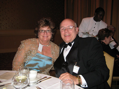 Mary and me at the black tie dinner on Saturday night. Mary's gown was stunning, according to several strangers who just walked up to her and announced that to her.  I had already told her that.