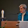 Precious Blood Sister Jeanette Buehler speaks during evening vespers at Salem Heights.