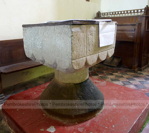 14th century font, Hodgeston Church.
