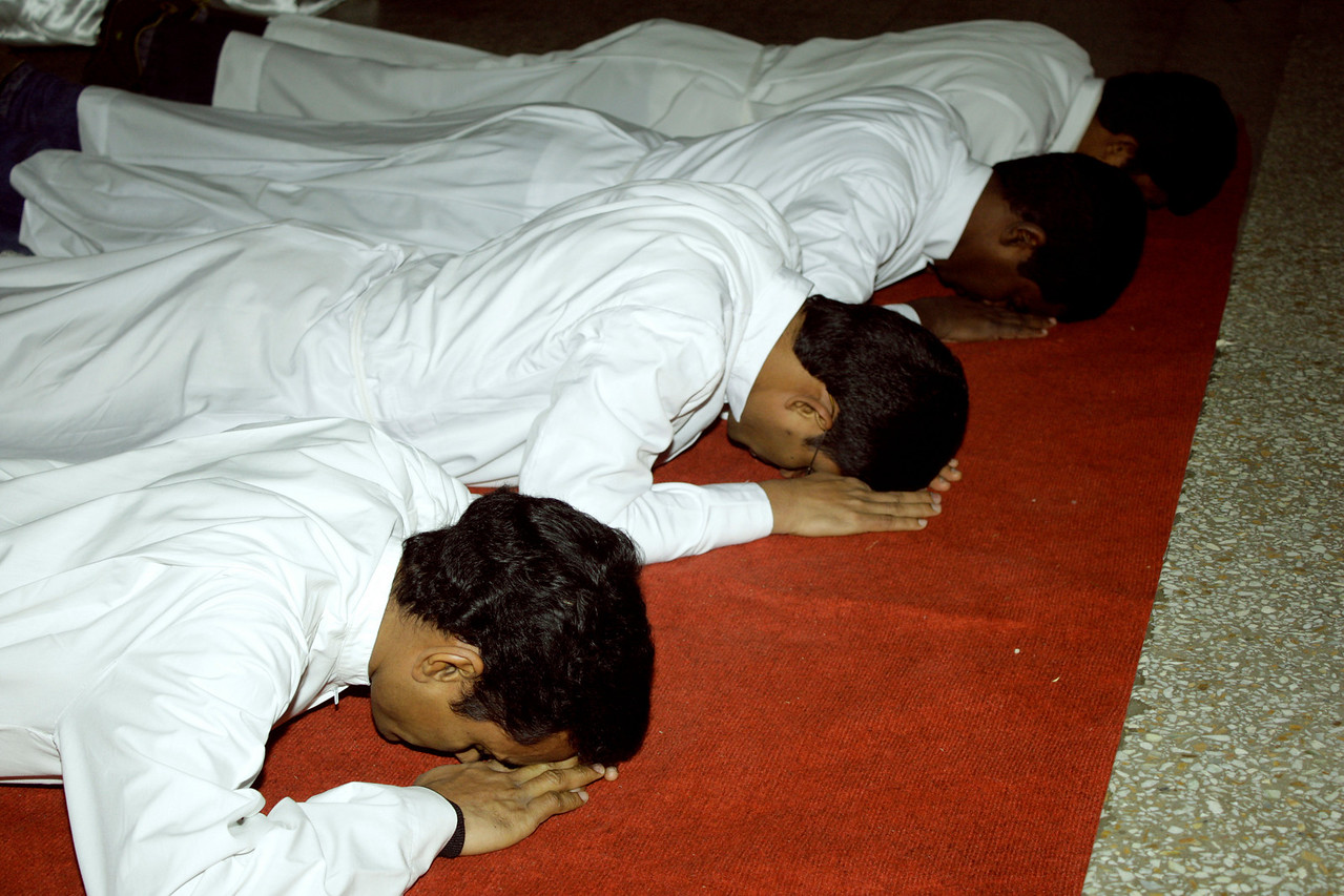 Prostrated during the singing of the Litany of the Saints.