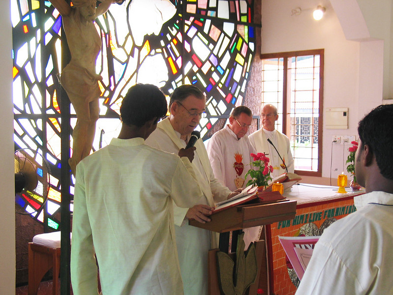 The Novice Master (Fr. Tom) calls the Novices forth, asking about their readiness to make their First Vows.