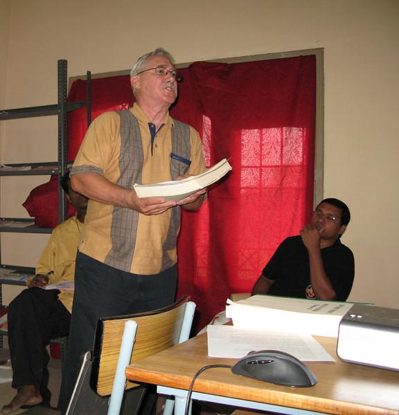 Br. Leonard giving a presentation on Fr. Dehon\'s interest in Social Justice.