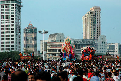 One can't see the sand of the beach - just the heads at Ganesh Chaturthi [Birthday Of Lord Ganesh].
