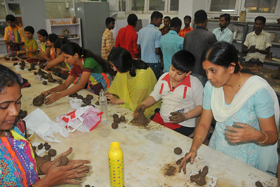 A camp organized for children at IIT to use soil from Powai Lake to make eco-friendly Ganesh idols for the  Ganesh Chaturti festival.
