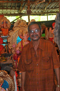 Senior most artist at Railway grounds, Lower Parel in Mumbai. Artists make Ganesh idols and paint them with rich colours on the eve of the Ganesh Chaturti festival.