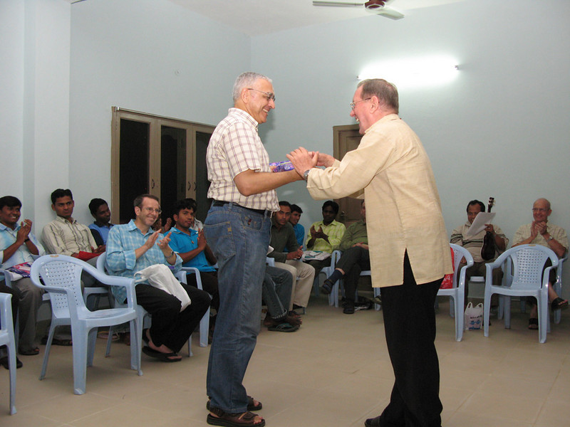 Fr. Martin presents a gift to Fr. Ornelas in the name of the India District community.