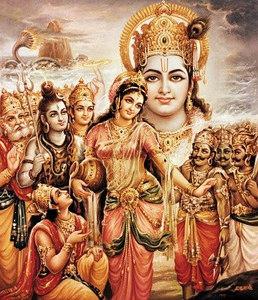 Mohini bearing the pot of amrita