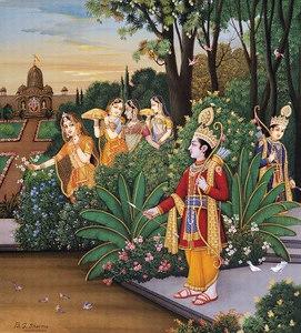 Rama encounters Sita in the garden