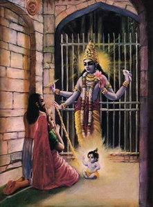 Vasudeva and Devaki offering prayers to Lord Krishna shortly after His birth