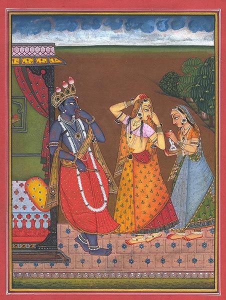 Krishna Watches as Radha Adorns Herself