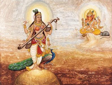 Goddess Saraswati and Lord Ganesh