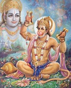Hanuman chanting Rama-nama
