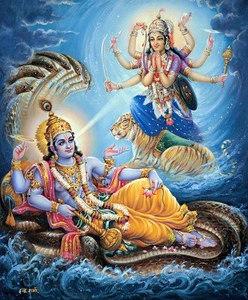 Maha Vishnu and His illusory energy, Maya
