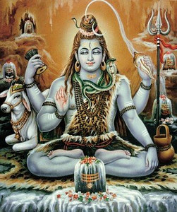 Shiva with four arms surrounded by various lingas