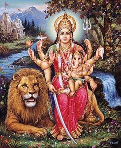 Parvati with baby Ganesh and Lion Vahana