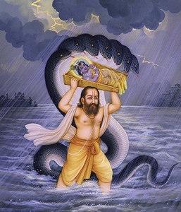 Vasudeva Carries Krishna Across the Yamuna to Vrindavana