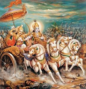 Krishna and Arjuna amidst the battle of Kurukshetra