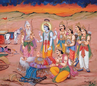 Bhishma on the bed of arrows