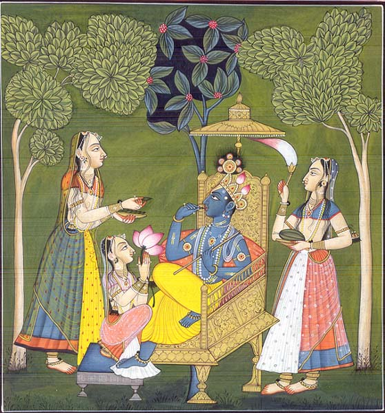 Krishna and Gopikas in the Garden of Love