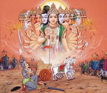 Krishna revealed his divinity to Arjuna on the battlefield