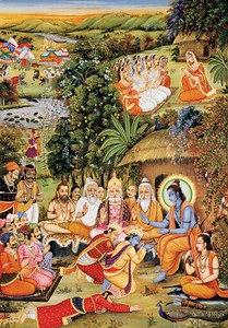 Bharata pays homage unto Rama and Sita