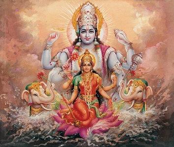 Lakshmi and Vishnu in milky ocean