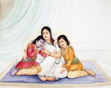 Sita, separated from Rama, with Kusha and Lava