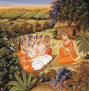 Sita, greeted by the queens and princesses of Ayodhya