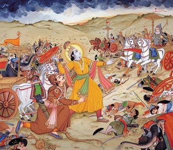 Krishna wielding the chariot wheel
