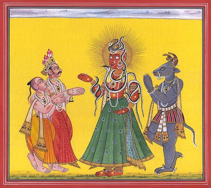 Mahadevi Adored by Vamana, Varaha and Indra