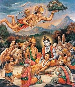 Hanuman delivers a peak of the Himalayan range
