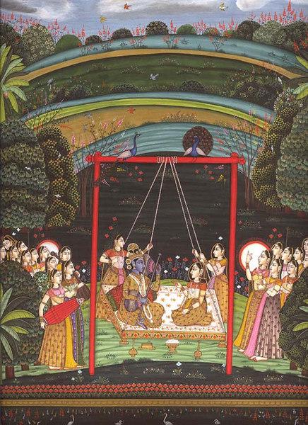 Radha Krishna in the Company of Gopis